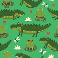 Seamless pattern with funny hand-draw crocodilies, waterlilly, hearts, frogs and dragonflies in cartoon style on green background. Vector children illustration.