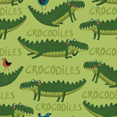 Seamless pattern with funny and cute hand-draw crocodilies,birds
