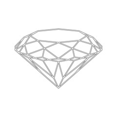 Diamond icon. Vector Illustration. Shiny crystal sign. Brilliant stone. Black stroke isolated on white background. Fashion modern design. Flat element. Symbol gift, jewel, gem or royal, rich.