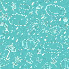 Seamless cute hand-draw cartoon style pattern with umbrella, zipper, cloud, rubber boot, drop, bow, watering can, rainbow, flower, heart, sun in white contour on blue background. Vector illustration.