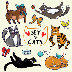 Set of six cute cats hand-draw in cartoon style with birds, hearts, bow, bowl, tangle and ball on pink background.  Vector children illustration.