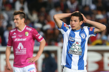 Pachuca's Lozano reacts during their Mexican league championship final soccer match against Leon at the Hidalgo stadium in Pachuca