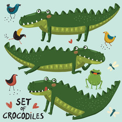 Set of three cute crocodiles, birs, dragonflyes, frog and heart hand-draw in cartoon style  on blue background.  Vector children illustration.