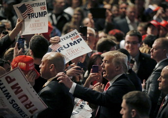 U.S. Republican presidential candidate Donald Trump greets supporters at a campaign event in Milwaukee