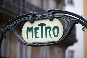 A Metro sign is seen at the Reaumur Sebastopol station in Paris