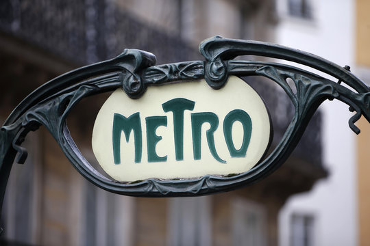A Metro sign is seen at the Reaumur Sebastopol station in Paris