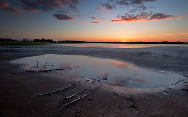 Salt lake at the sunset. Kinburn Spit, Ukraine