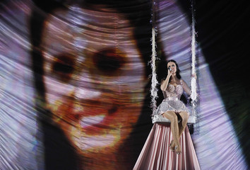"""Singer Katy Perry performs """"Not Like The Movies"""" at the 53rd annual Grammy Awards in Los Angeles"""
