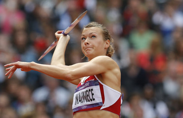 Latvia's Laura Ikauniece competes during women's heptathlon javelin event at London 2012 Olympic Games