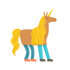 Children dressed as a unicorn, unicorn costume. Colorful cartoon character vector Illustration