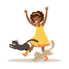 Happy little girl playing with two kittens. Colorful cartoon character vector Illustration