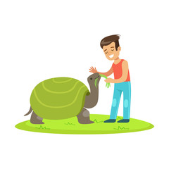 Happy little girl feeding with grass a huge turtle outdoor. Colorful cartoon character vector Illustration
