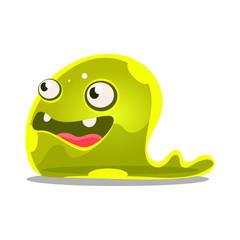 Funny cartoon green slimy monster. Cute jelly colorful character vector Illustration