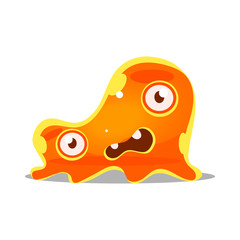Funny cartoon orange slimy monster. Cute bright jelly character