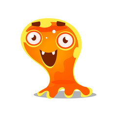 Funny cartoon friendly slimy monster. Cute bright jelly character vector Illustration