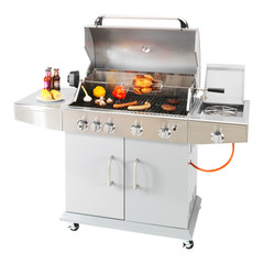 BBQ Grill with Food Isolated on White Background. Stainless Steel Barbecue Gas Grill. BBQ Grillware Gas Grill. Outdoor Grill Table. Outdoor Cooking Station