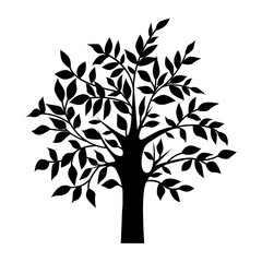 abstract black tree, isolated natural plant sign, silhouette vector