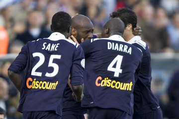 Girondins Bordeaux players Sane, Diarra and Gourcuff celebrate after Ciani scored during their French Ligue 1 soccer match against Lille at the Chaban Delmas stadium in Bordeaux
