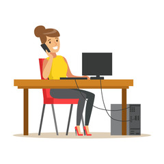 Smiling businesswoman talking on her smartphone while working on her computer, colorful character vector Illustration