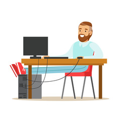 Smiling bearded man working on a computer at his desk, colorful character vector Illustration