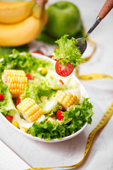 Healthy fitness meal with fresh salad. Diet concept.