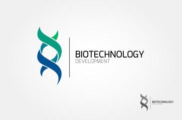 Bio technology. Cross ribbon vector design logo illustration.
