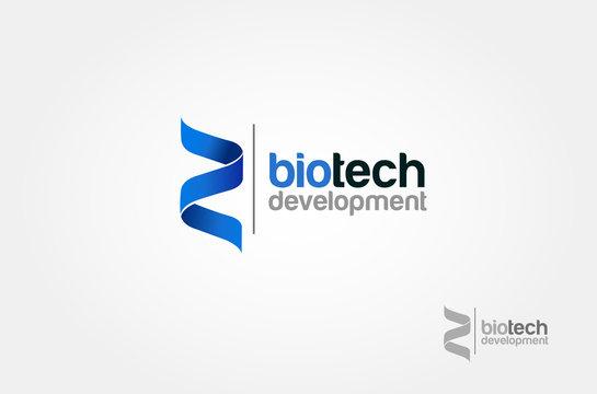 Biotech Development Vector Logo Template. Blue cross ribbon vector design logo.
