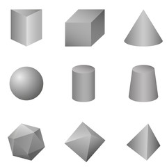 Vector Set of Gray Gradient Geometrical Shapes