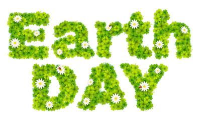 Earth Day vector sign made from green clover leaves and chamomile
