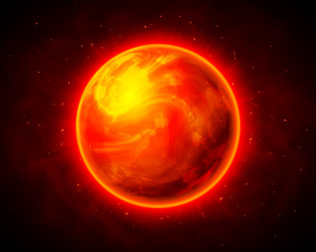 Red burning planet cosmic vector background