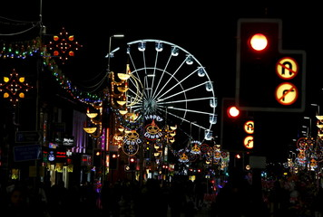 The Wheel of Light is seen after decorations light up during Diwali celebrations in Leicester, Britain