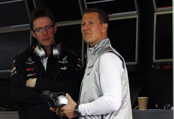 Mercedes GP Formula One driver Schumacher of Germany attends an official F1 test session at the Mugello race track