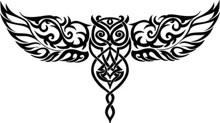 isolated owl in flight - celtic style