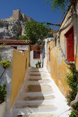 Beautiful Anafiotika town over Acropolis hill