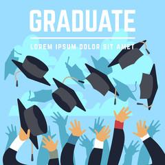 High school graduating students throw black graduation caps up in sky vector illustration