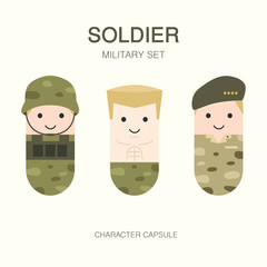 collection set of world war soldier with uniform, cute flat capsule character cartoon. military set.