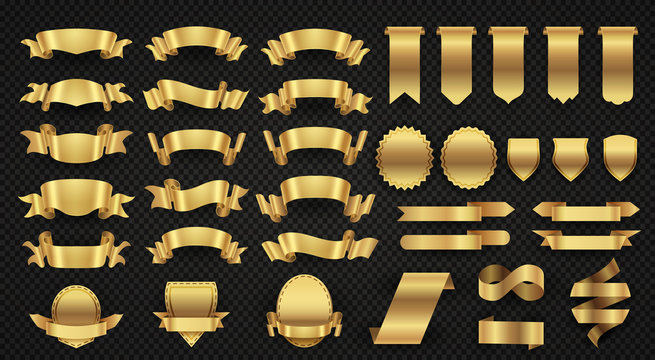 Wrapping gold banner ribbons, elegant golden design elements