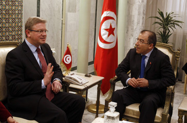 Tunisia's Foreign Minister Mongi Hamdi meets with European Commissioner for Enlargement and European Neighborhood Policy Stefan Fule in Tunisia