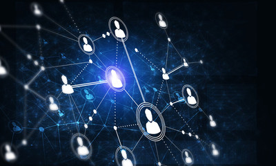 Modern wireless technologies as means of communucation and networking on dark background