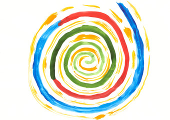 Foto auf Acrylglas Spirale Abstraction from a color spiral painted in watercolor
