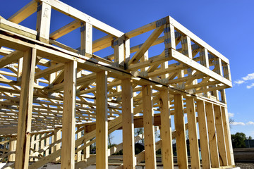 New wood frame home under construction.