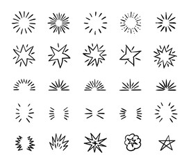 Elegant ink brush circle bursts and whimsical borders. Hand drawn bursting vector decoration