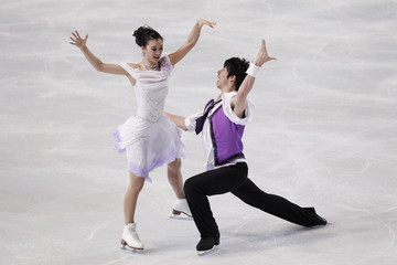 Huang and Zheng of China perform during the Ice Dance Short Dance in the Bompard Trophy event at Bercy in Paris