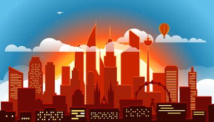 Modern cityscape in the evening vector illustartion. Big city scene