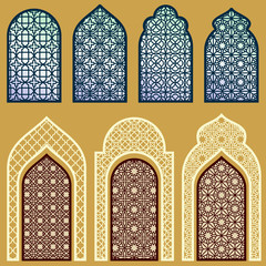Islamic windows and doors with arabian art ornament pattern vector set