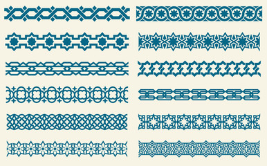 Islamic ornaments link seamless vector decorative borders
