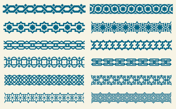 Islamic ornaments link seamless vector decorative borders