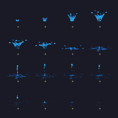 Cartoon vector water splash with drops fx animation frames sprite sheet