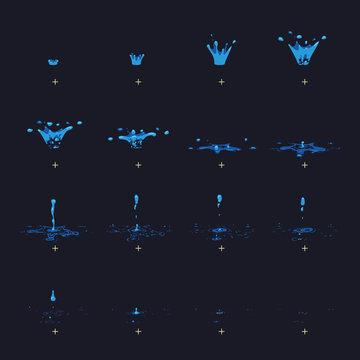 Cartoon vector water splash with drops fx animation frames sprite sheet