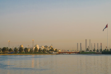 Sharjah. In the summer of 2016. The cultural capital of the UAE, a modern urban metropolis at the dawn of day.